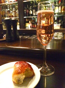 Nicolas Feuillatte Brut Rosé at Harvest Cambridge. Paired with the city's best bar bite: the bacon bun.